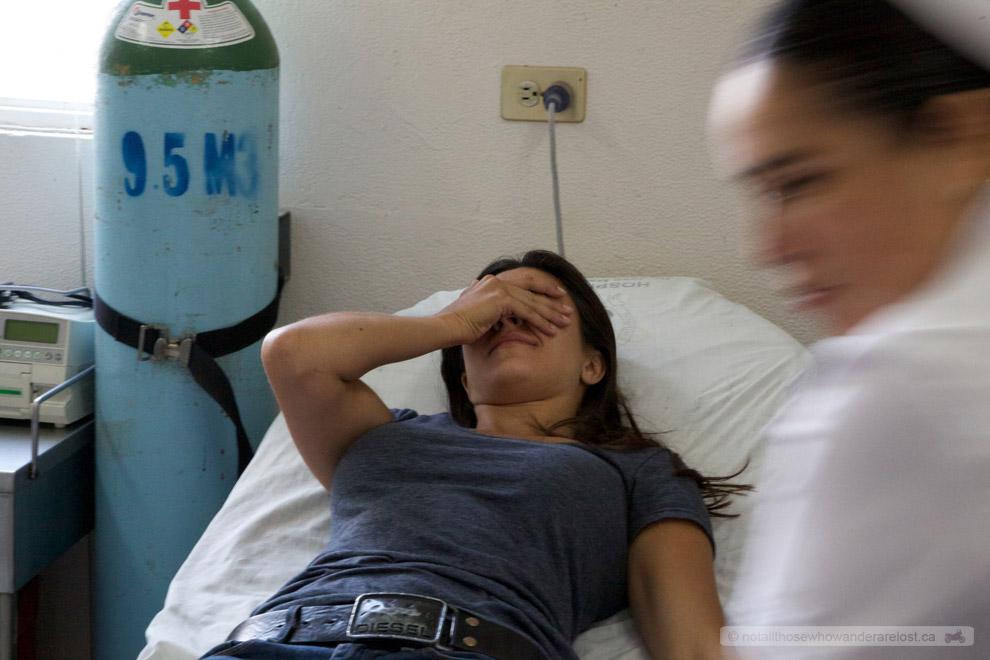 Paula in the hospital.